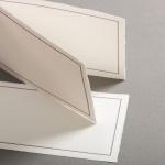 Echt Bütten Karten mit lila Doppelrahmen Diplomat querdoppelt