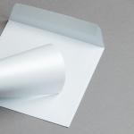 Metallics schimmernd Hüllen 155 x 155 mm Weiß mit Blauschimmer