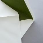 Creme enveloppes B6 avec doublure couleur Vert olive