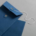 Enveloppe C6 avec rondelle par ficelle en bleue