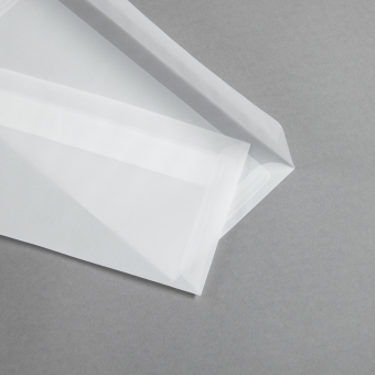 Transparent Premium Briefumschläge haftklebend DIN lang | ohne Fenster | gerade Klappe