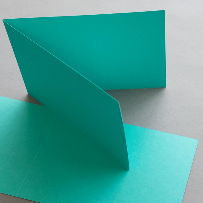 Farbige Karten 120 x 169 mm querdoppelt Smaragdgrün