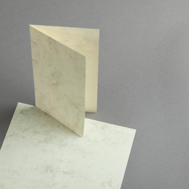 Marmor dtp Karten DIN lang hochdoppelt   Weiß / Braun