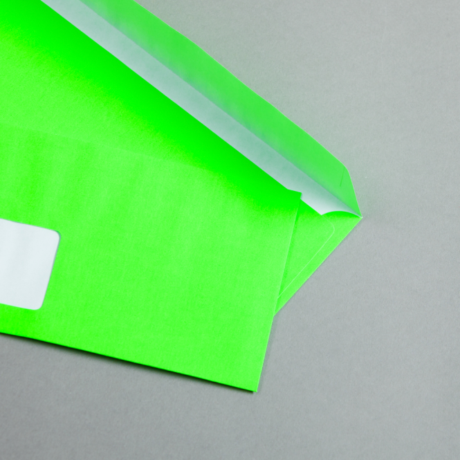Ultra Neon Hüllen DIN lang   Neon Grün   mit Fenster