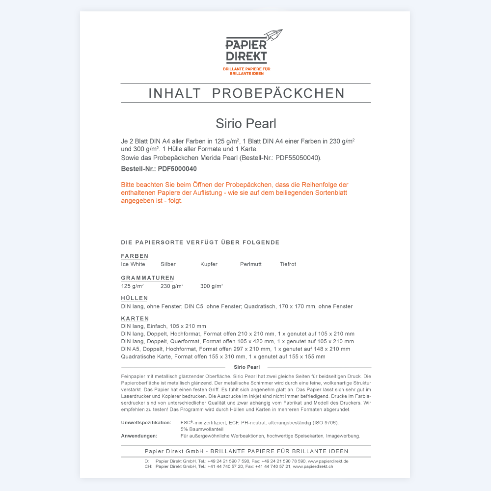 Papier Direkt Shop | Sirio Pearl + Merida Pearl tester packs ...